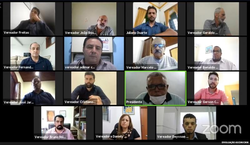 Os 15 parlamentares participaram da reunião remota, cada um em seu gabinete